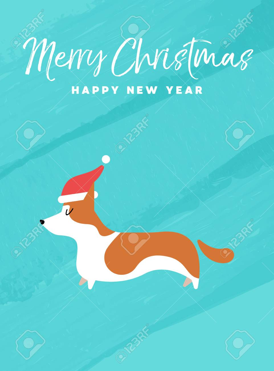 Merry christmas and happy new year holiday greeting card merry christmas and happy new year holiday greeting card illustrationrgi dog with santa claus m4hsunfo