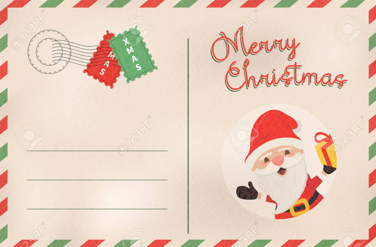 Merry Christmas Postcard In Traditional Vintage Mail Style. Holiday ...