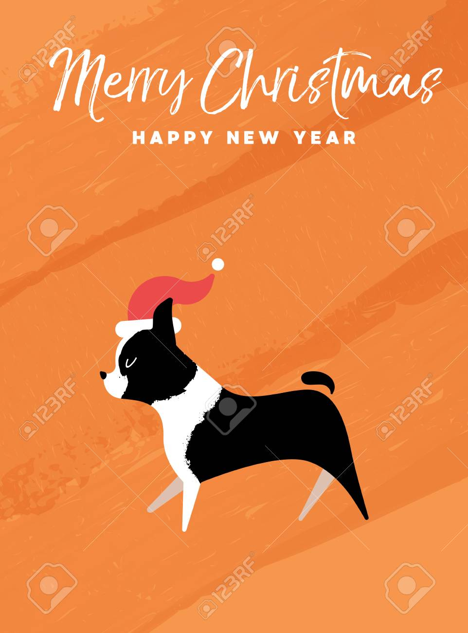 Merry christmas and happy new year holiday greeting card merry christmas and happy new year holiday greeting card illustrationston terrier dog with santa m4hsunfo