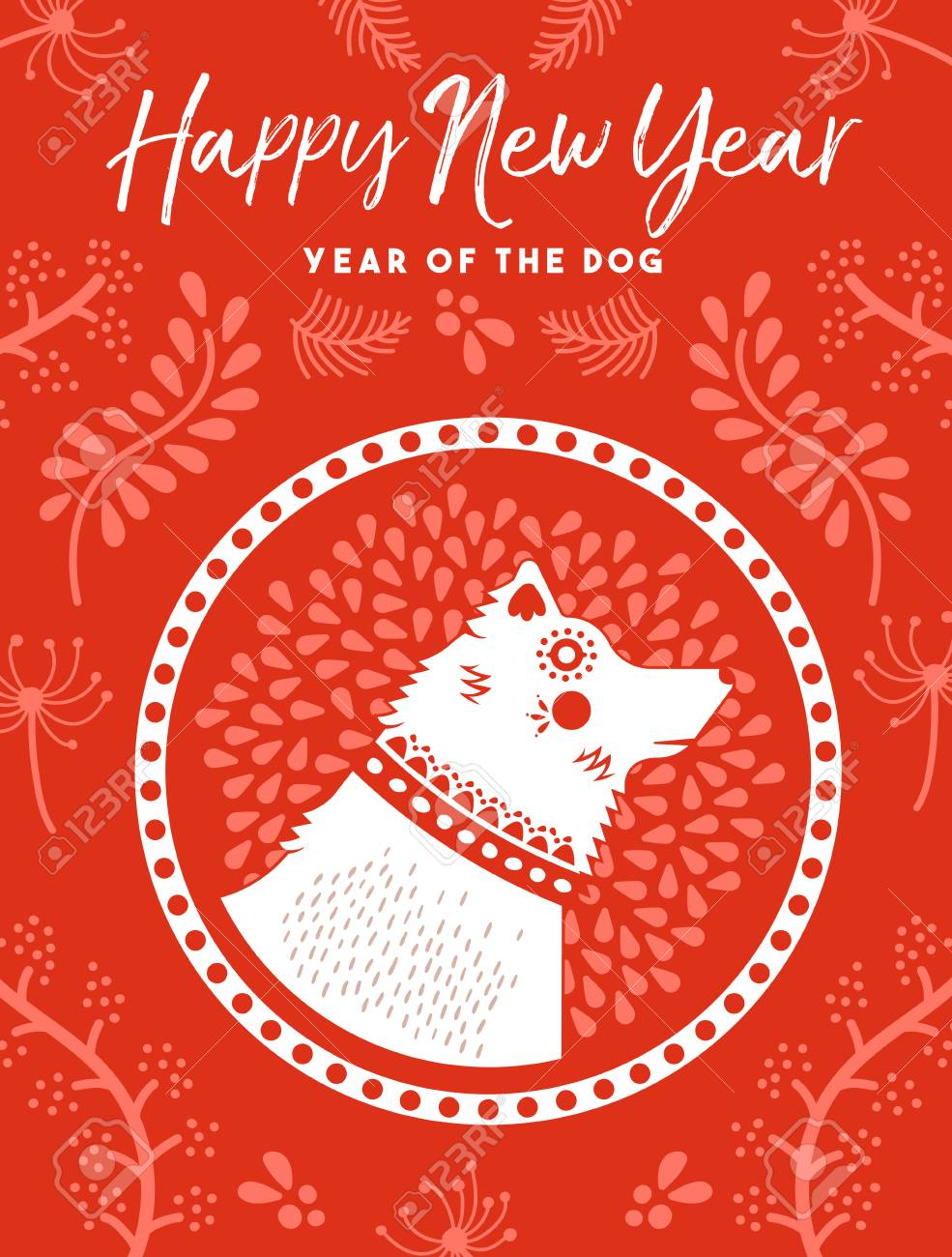 2018 happy chinese new year of the dog greeting card design with traditional red illustration and
