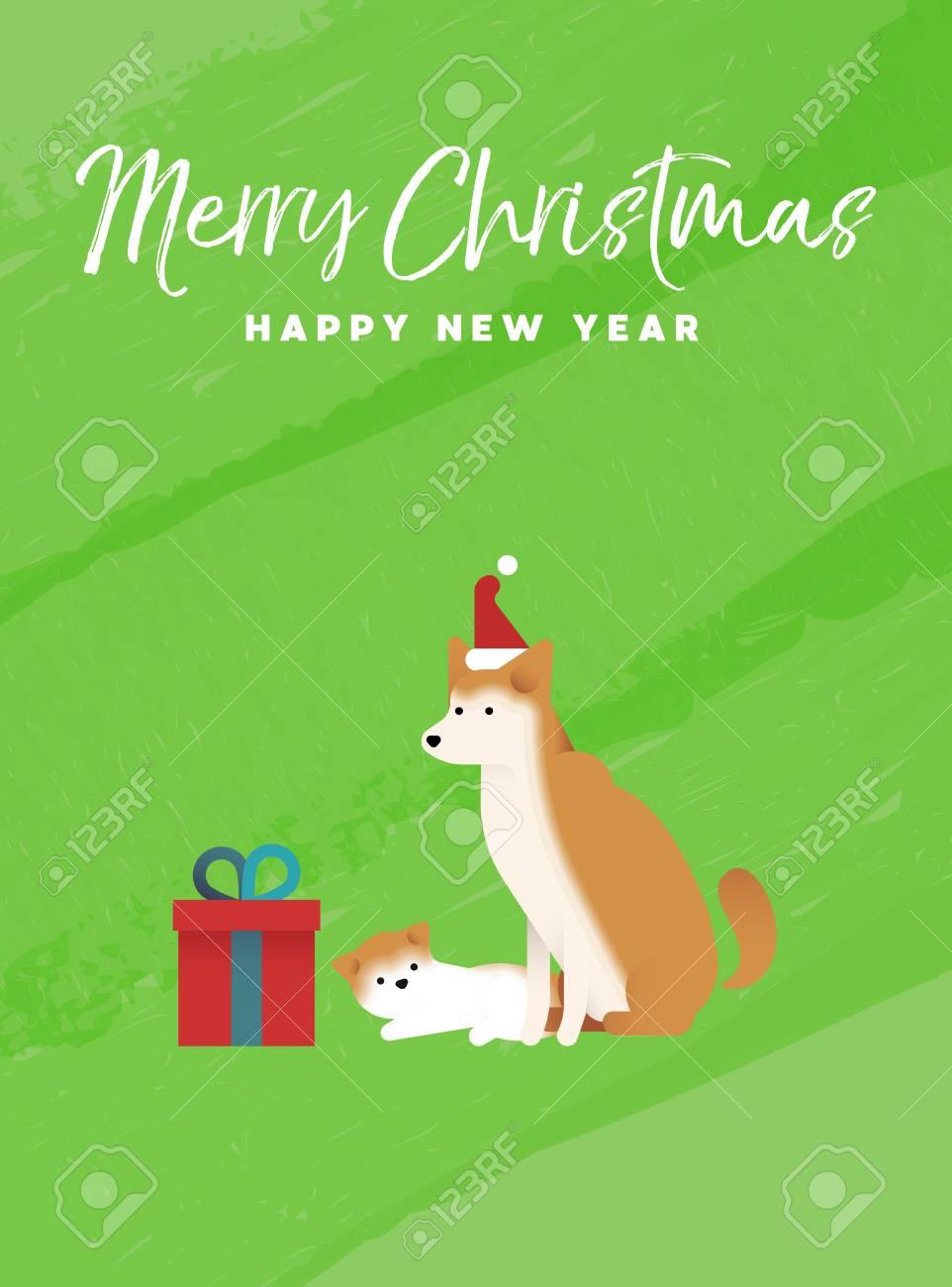 Frohe Weihnachten Und Happy New Year Urlaub Grußkarte Abbildung ...