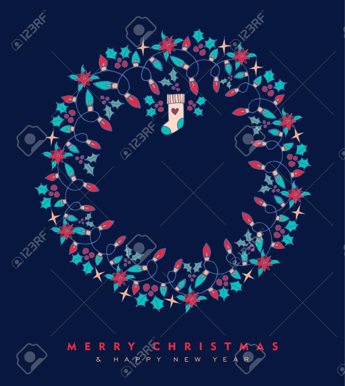 merry christmas and happy new year hand drawn greeting card design with wreath shape holiday nature