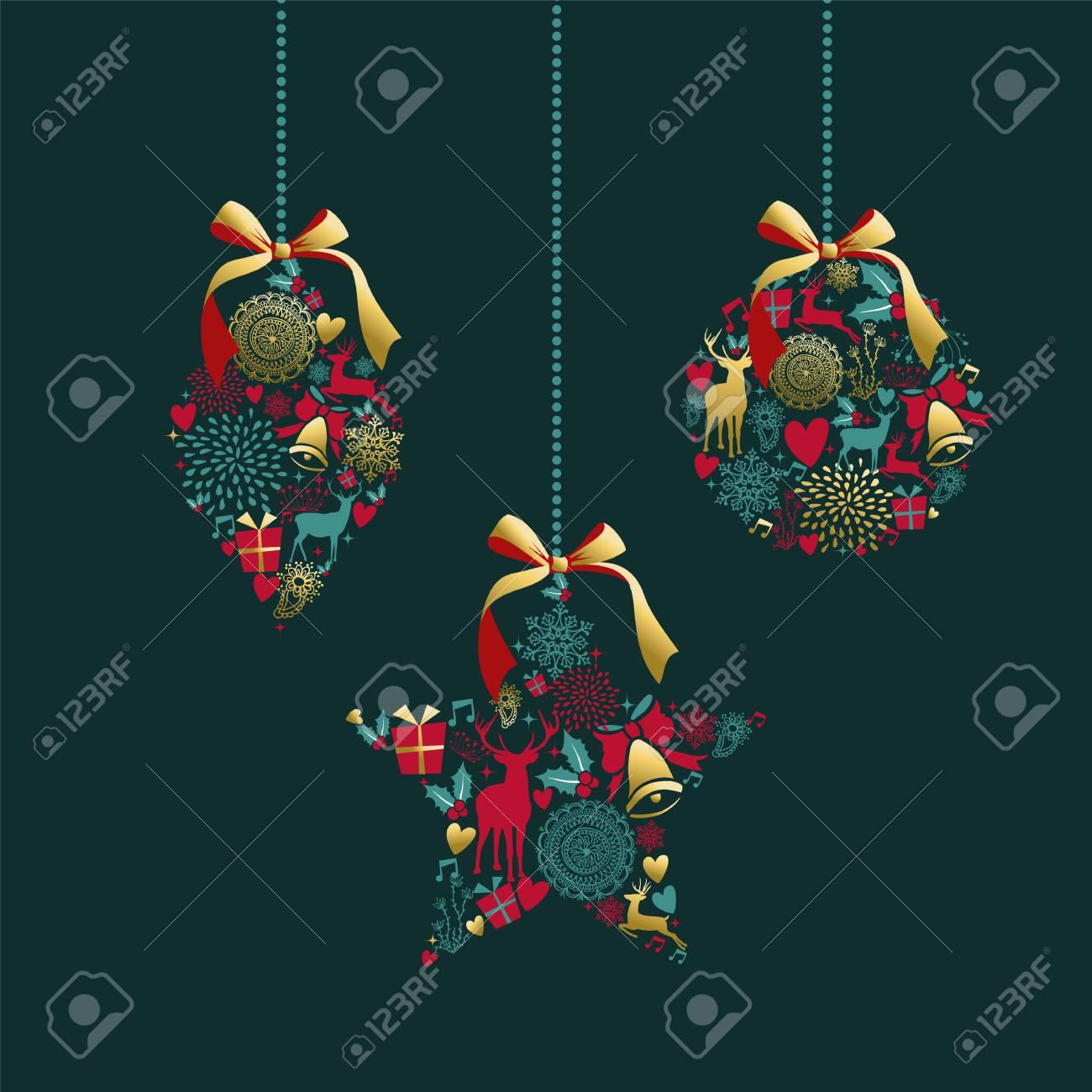 d9d9eae9e675d Forma De Bola De Adorno Dorado Lujoso De Feliz Navidad Con Decoración De  Icono De Venado Y Vintage. Ideal Para La Tarjeta De Felicitación De Navidad  O La ...