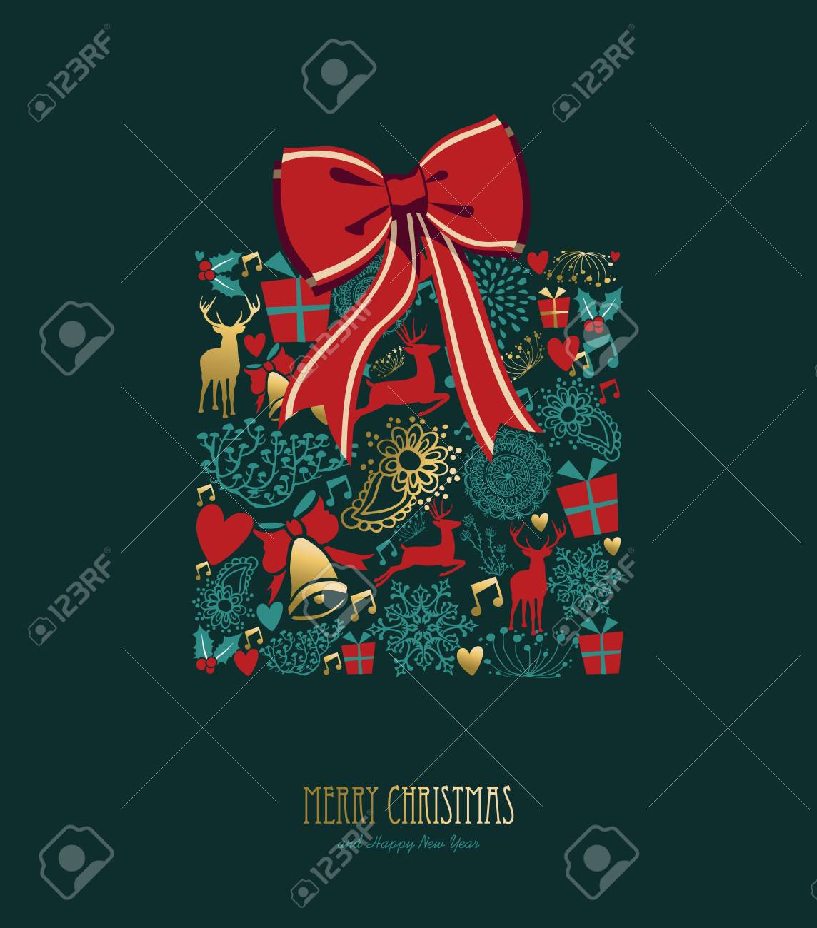 merry christmas happy new year greeting card design holiday elements in gold vintage style making