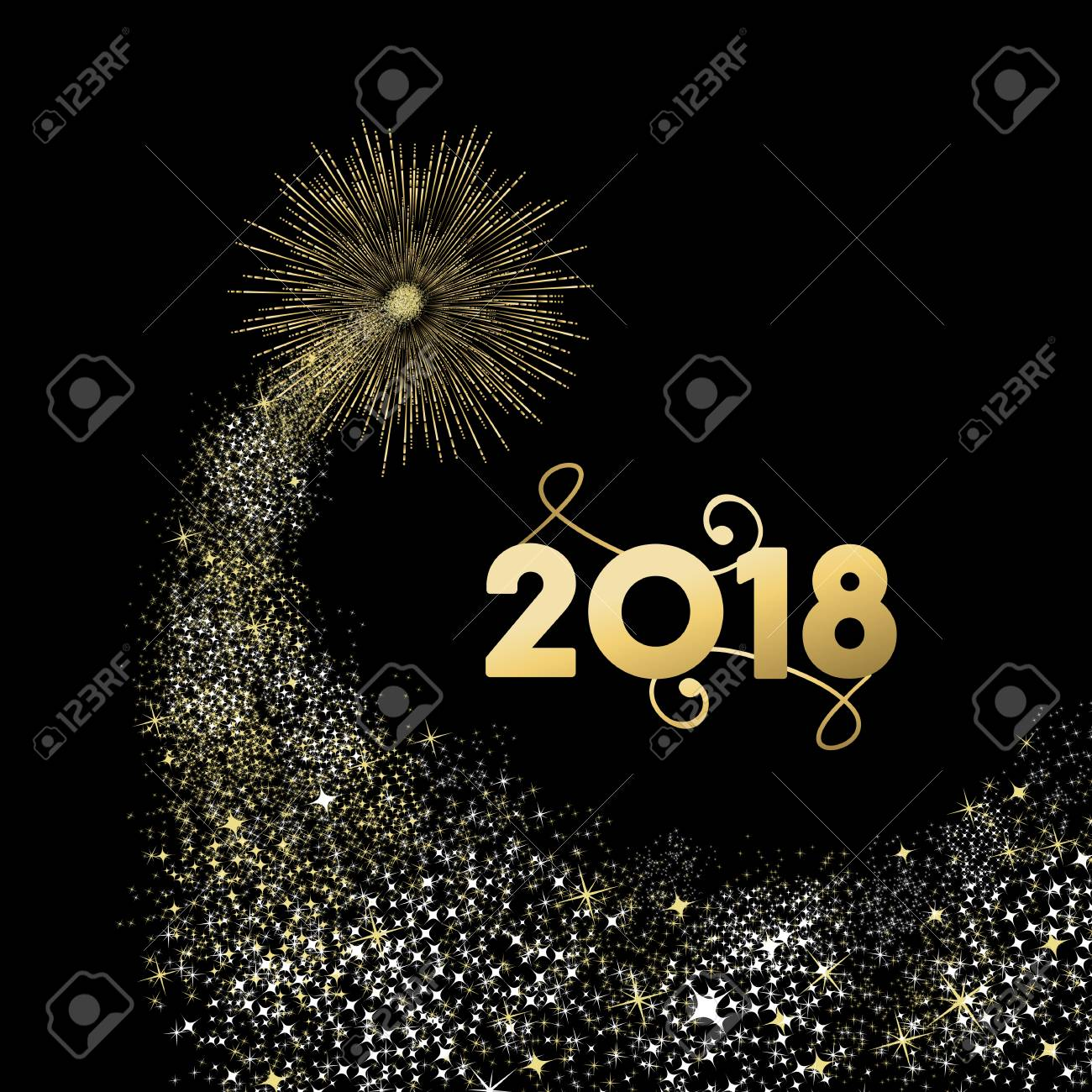 Happy New Year 2018 gold number typography greeting card with fireworks explosion in night sky. - 91582686