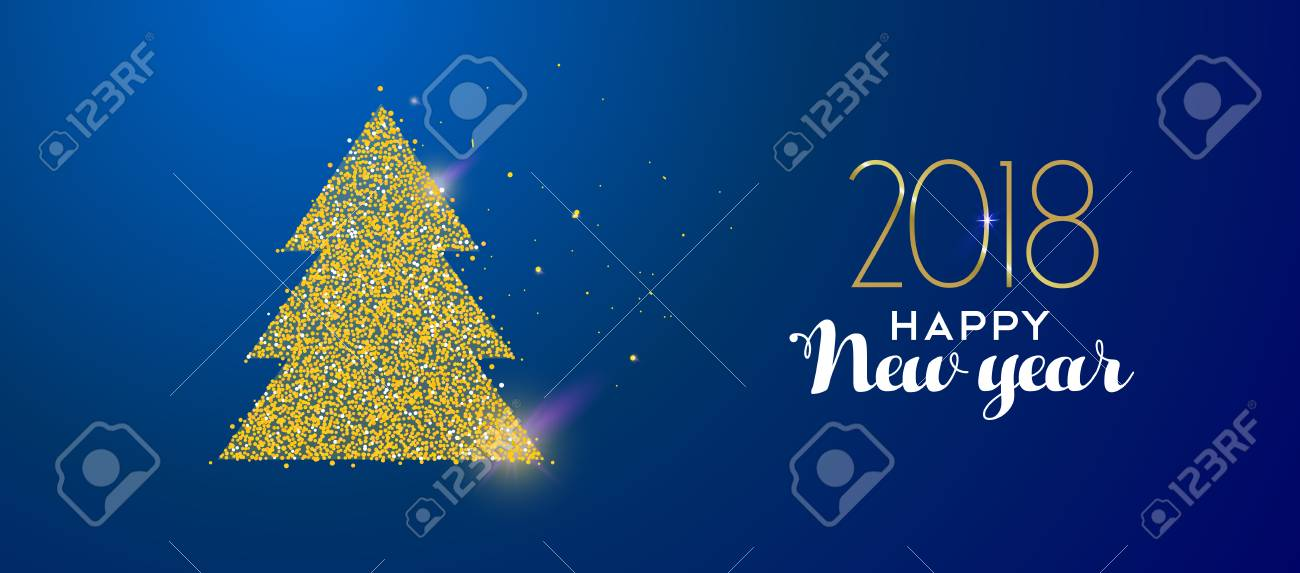 happy new year 2018 message with gold christmas tree made of realistic golden glitter dust