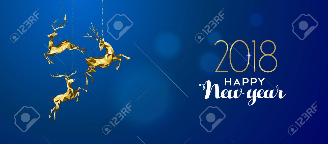 happy new year 2018 message with gold low poly reindeer decoration on blur illustration stock
