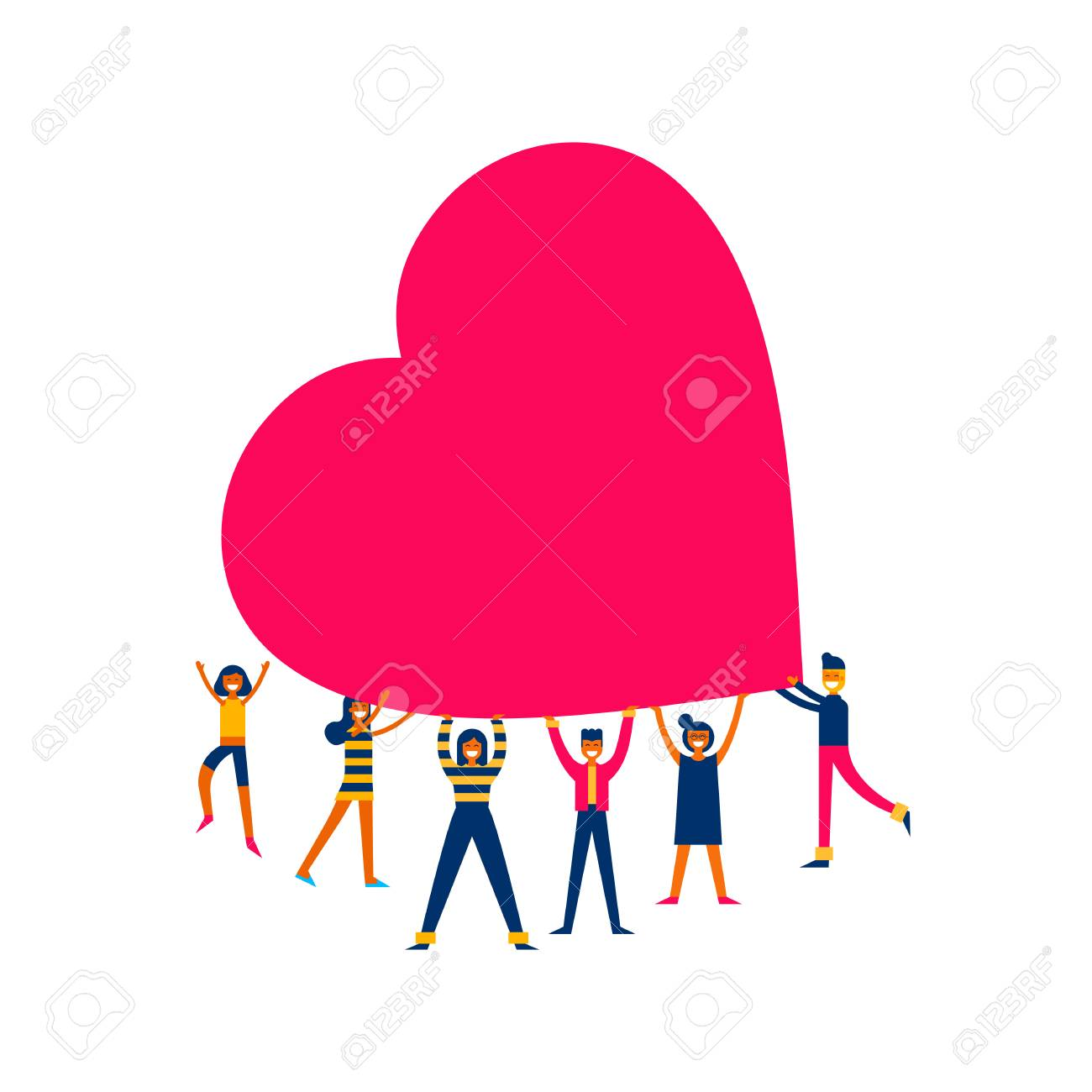 Group of people holding giant heart, love makes the change concept illustration in modern flat art style. - 93084238