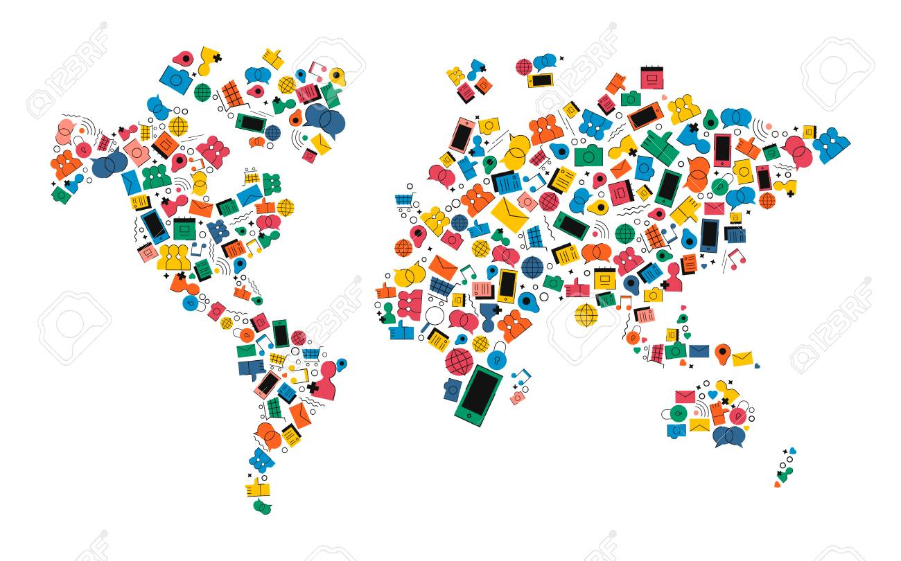 World map made of colorful flat style social media icons worldwide vector world map made of colorful flat style social media icons worldwide internet communication concept illustration includes music photo gps chat gumiabroncs Images