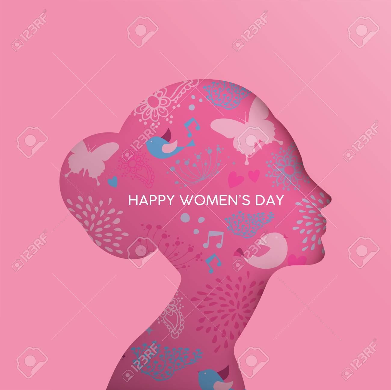 Happy Womens Day holiday greeting card illustration. Paper cut girl head silhouette cutout with hand drawn spring and nature doodles. EPS10 vector. - 95530144