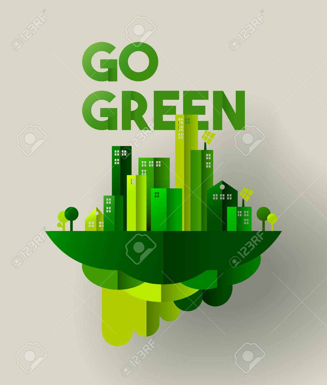Eco friendly city concept illustration for sustainable urban lifestyle. Go green typography quote with houses and towers in paper cut style. EPS10 vector. - 96841508