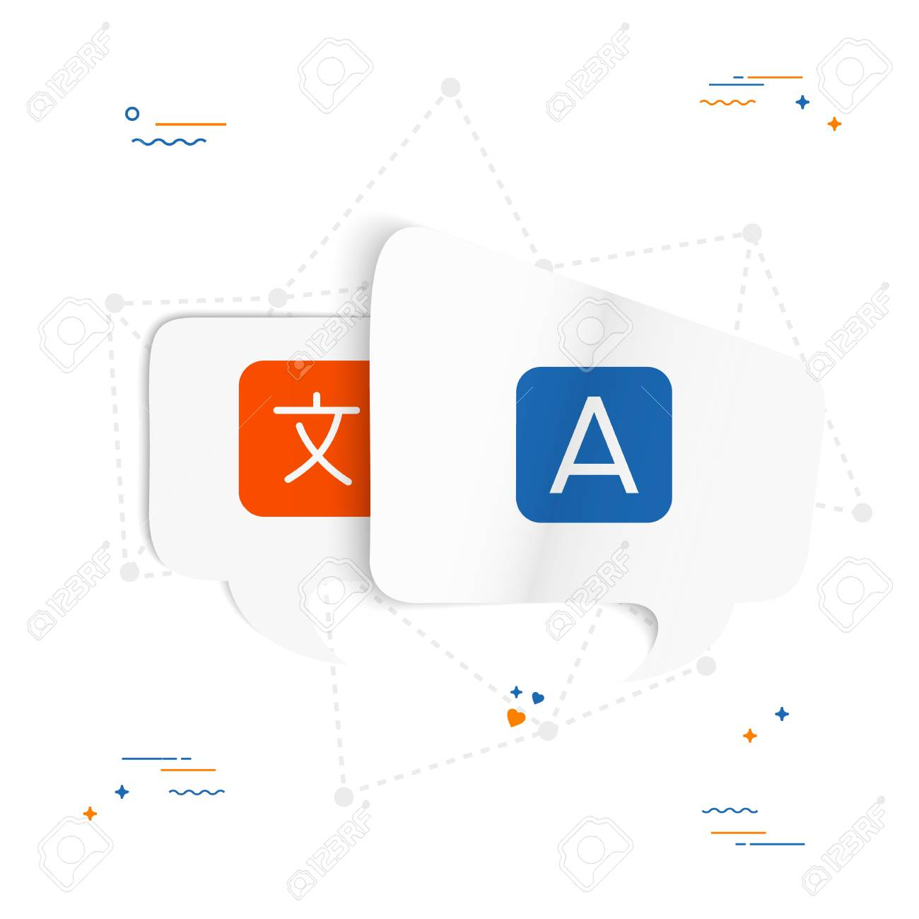Translation Concept Map.Chat Bubbles With Translate Icon Concept Illustration For