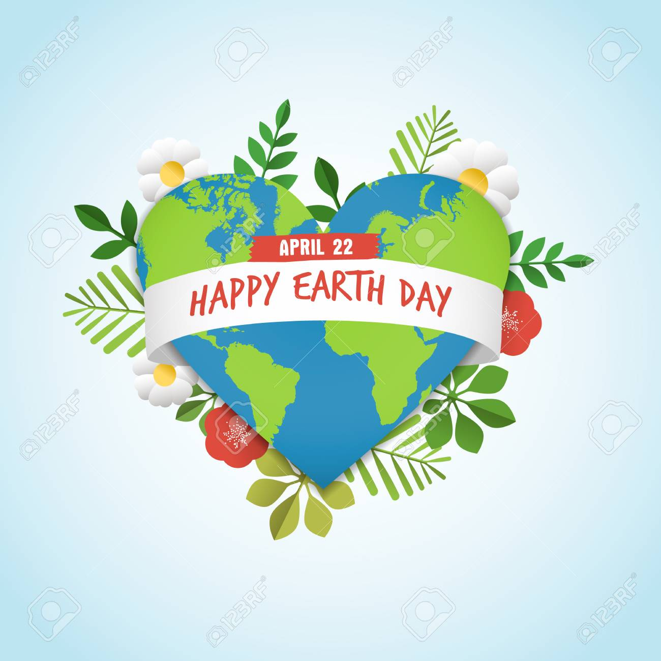 Happy Earth Day greeting card of green planet in heart shape with nature decoration. Includes leaves, flowers and world map for eco friendly celebration. EPS10 vector. - 97750916
