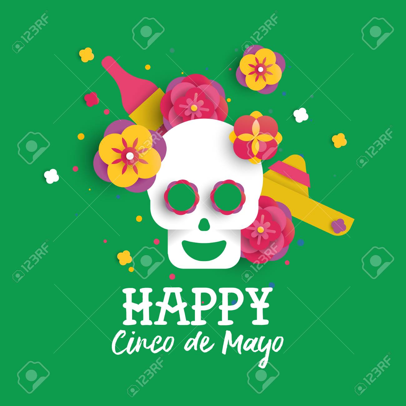 Happy cinco de mayo greeting card illustration in 3d paper cut happy cinco de mayo greeting card illustration in 3d paper cut style traditional mexican sugar m4hsunfo