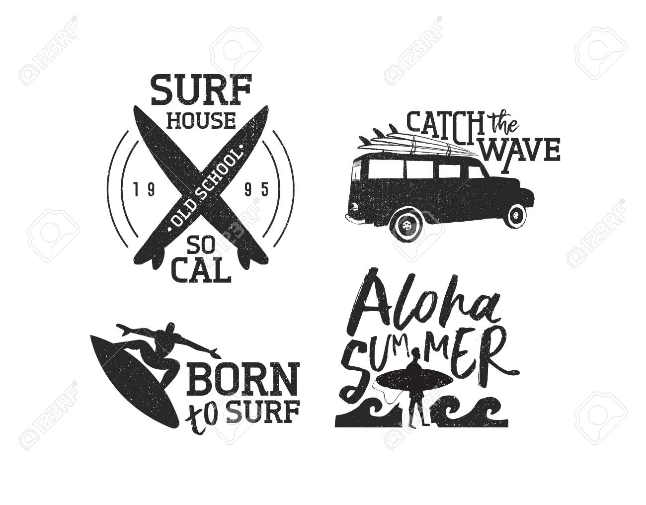 Vintage old school surf label set isolated over white, summer..