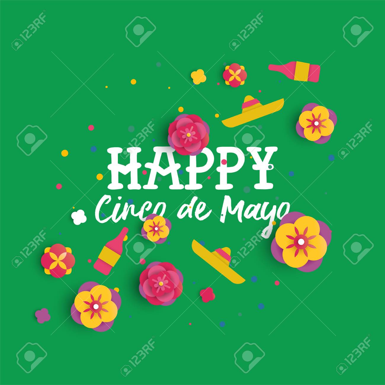 Happy cinco de mayo greeting card in 3d paper art style for holiday happy cinco de mayo greeting card in 3d paper art style for holiday event colorful m4hsunfo