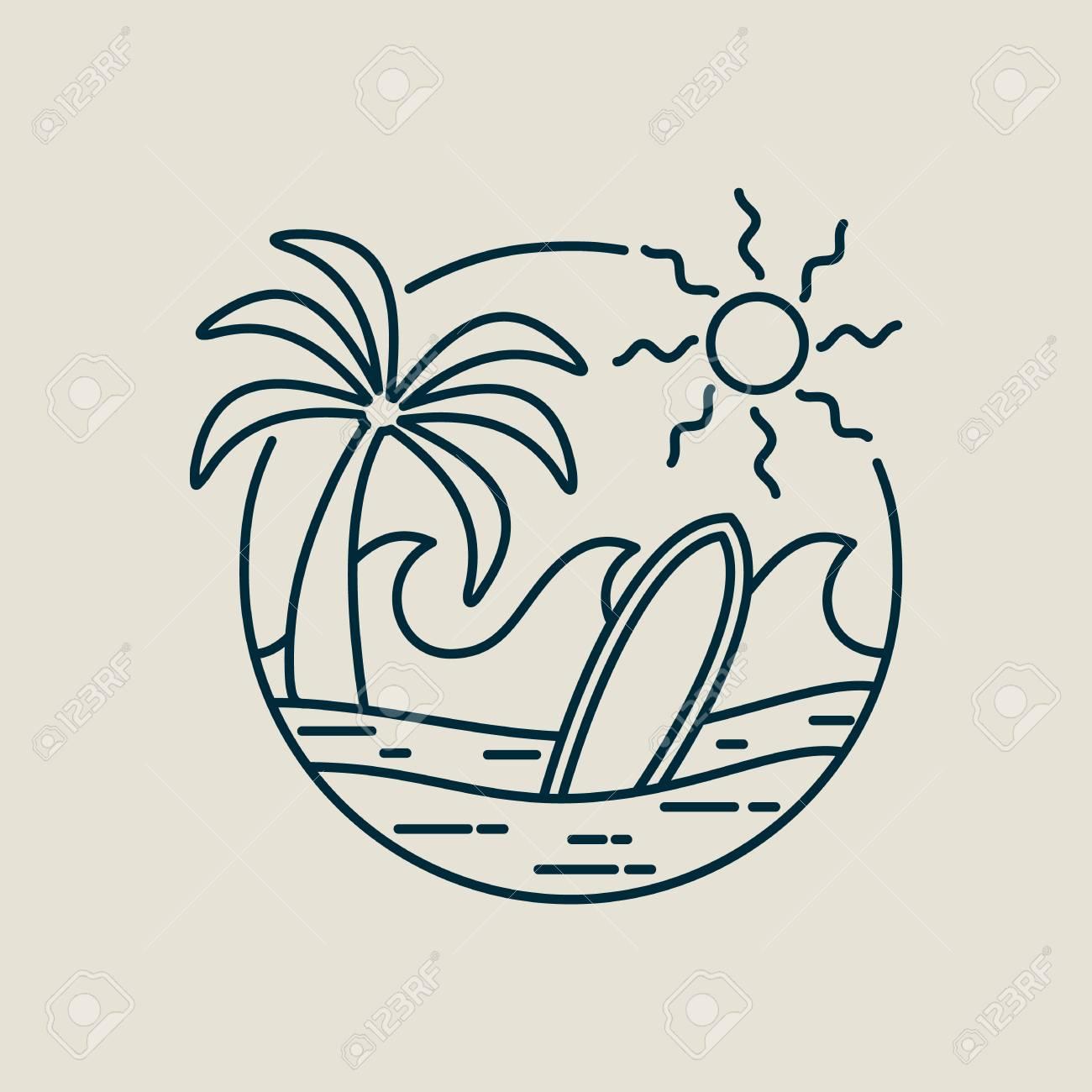 Surf line art stamp in modern flat style  Paradise beach illustration
