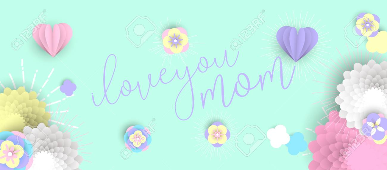 Happy mothers day holiday illustration 3d paper art spring flowers happy mothers day holiday illustration 3d paper art spring flowers and hearts with love text altavistaventures Choice Image