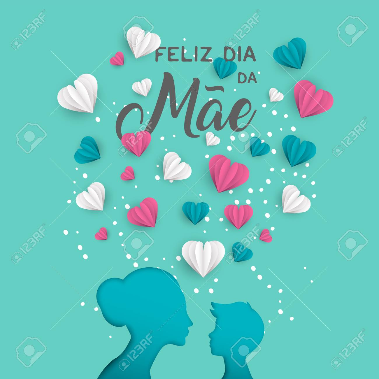 Happy mothers day holiday greeting card illustration in portuguese happy mothers day holiday greeting card illustration in portuguese language pink paper cut mom and m4hsunfo Images