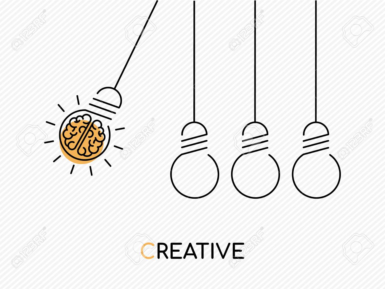 Creative idea concept illustration in modern outline design with human brain as electric light bulb. - 101060180