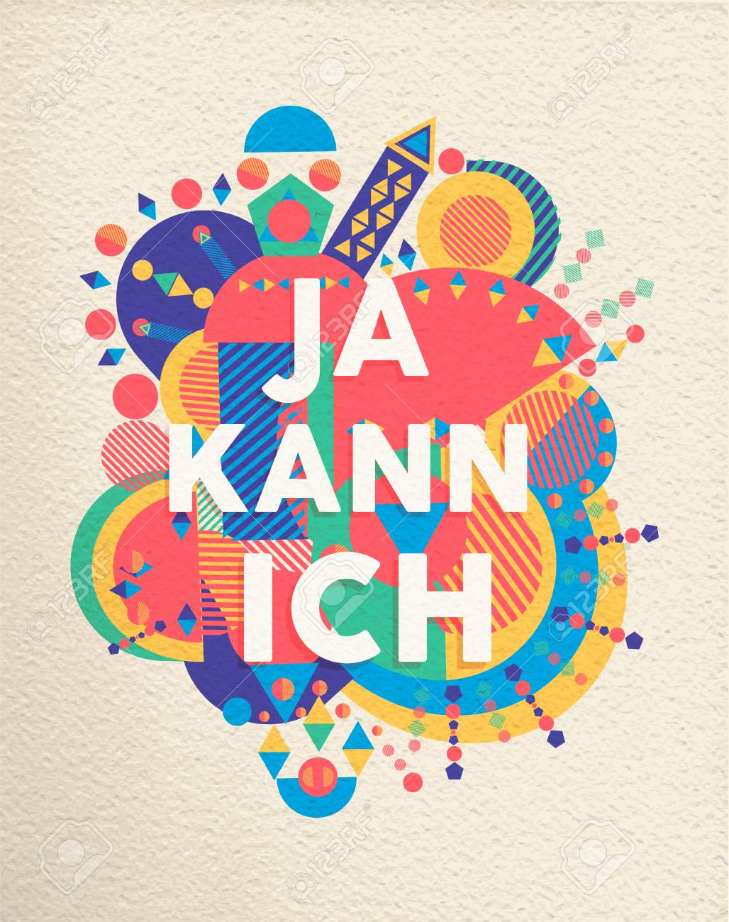 yes i can colorful typography poster in german language