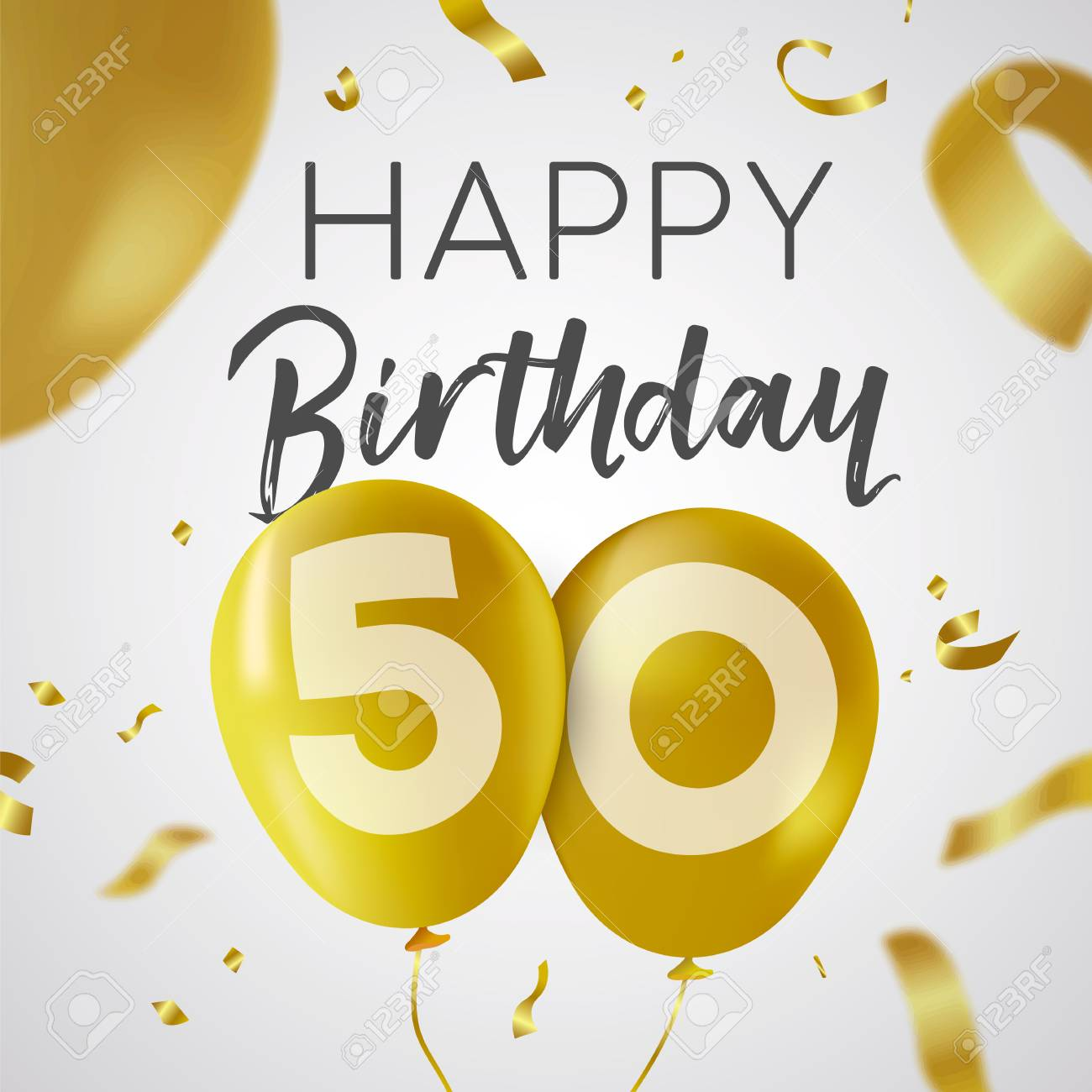 Happy Birthday 50 Fifty Years Luxury Design With Gold Balloon Number And Golden Confetti Decoration