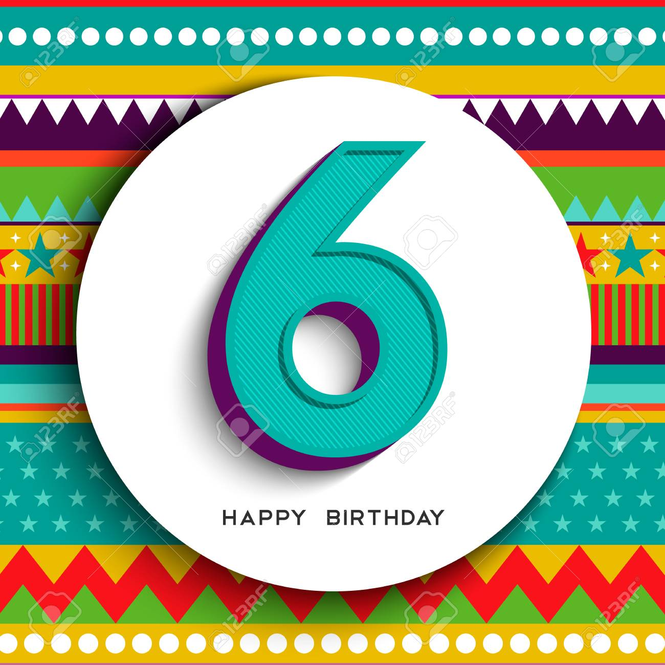 Happy Birthday six 6 year fun design with number, text label and colorful background. Ideal for party invitation or greeting card. - 102242167