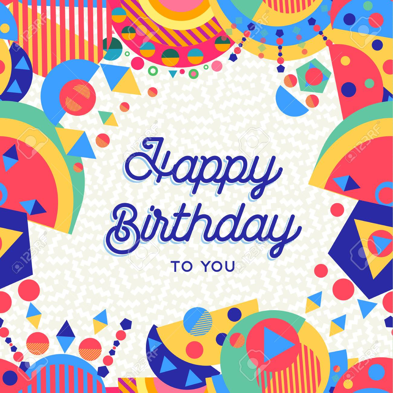 Happy Birthday Greeting Card Design For Party Invitation Or Special