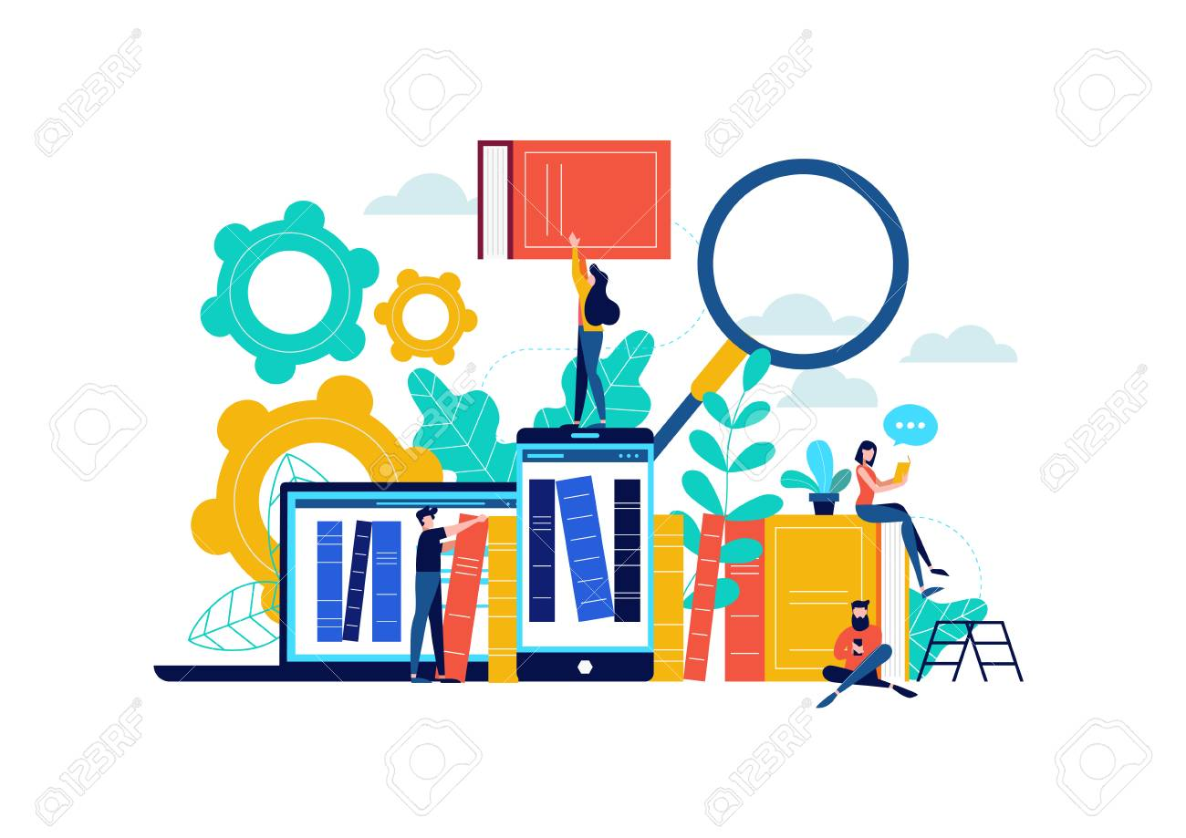 Virtual book library illustration, people studying for college exam preparation, distance learning phone app or e-library concept. - 102566467