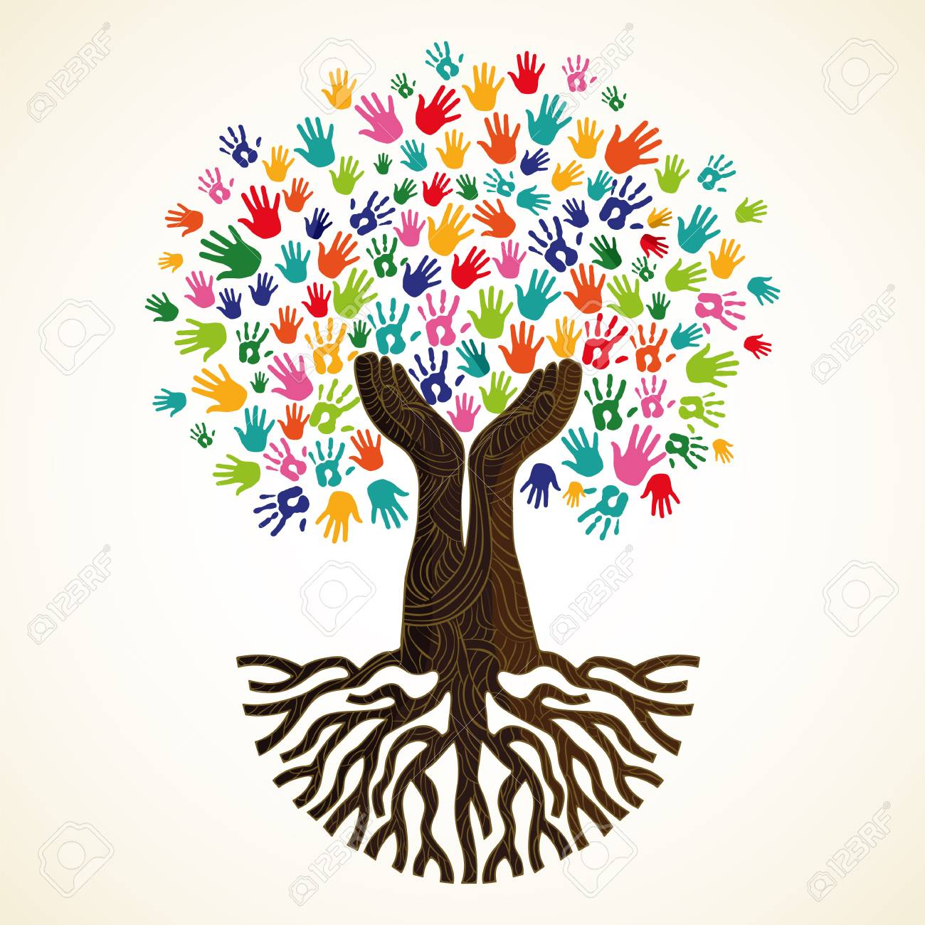 Tree symbol with colorful human hands. Concept illustration for organization help, environment project or social work. vector. - 103830638