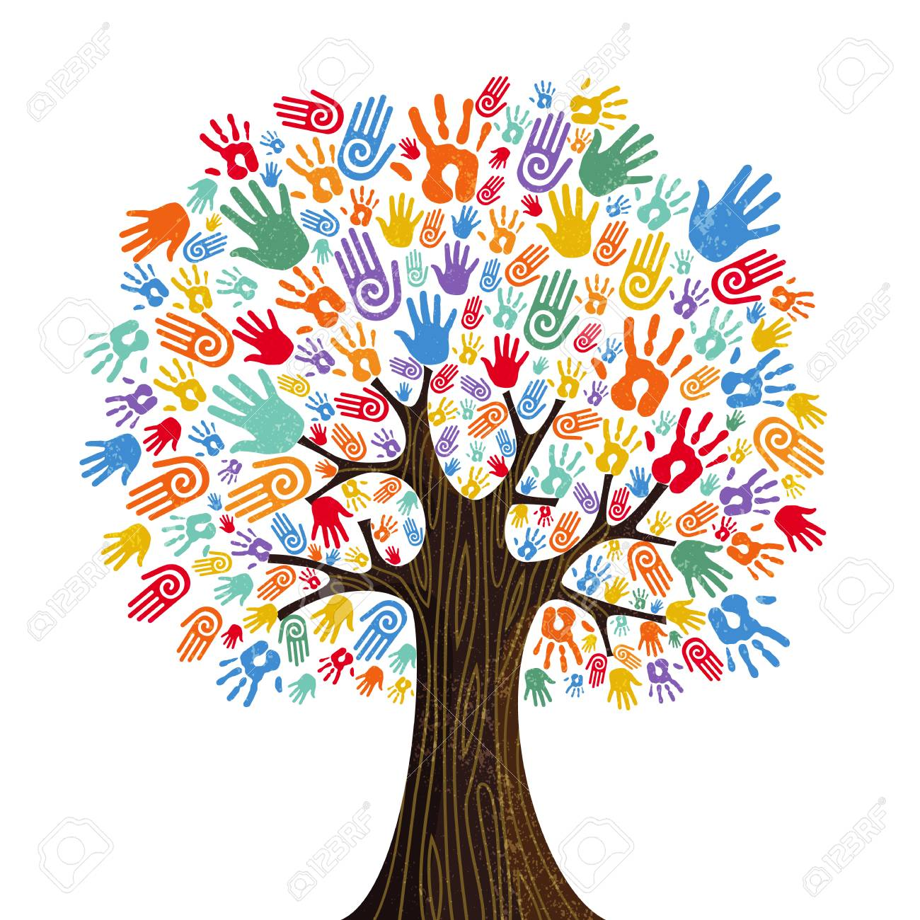 Tree with colorful human hands together. Community team concept illustration for culture diversity, nature care or teamwork project. vector. - 103830646