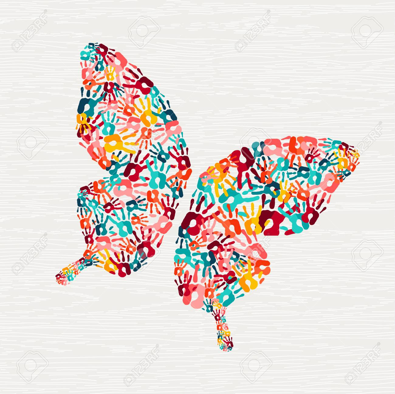 Human hand print butterfly shape concept. Colorful paint handprint background for diverse community or social project. vector. - 103830824