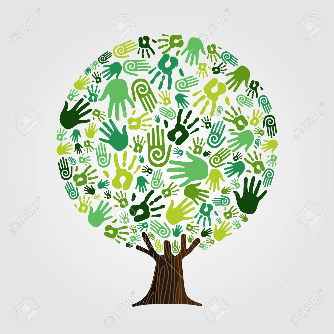 Tree made of green human hands with branches and roots. Nature help concept, Environment group or earth care teamwork. vector. - 103830838