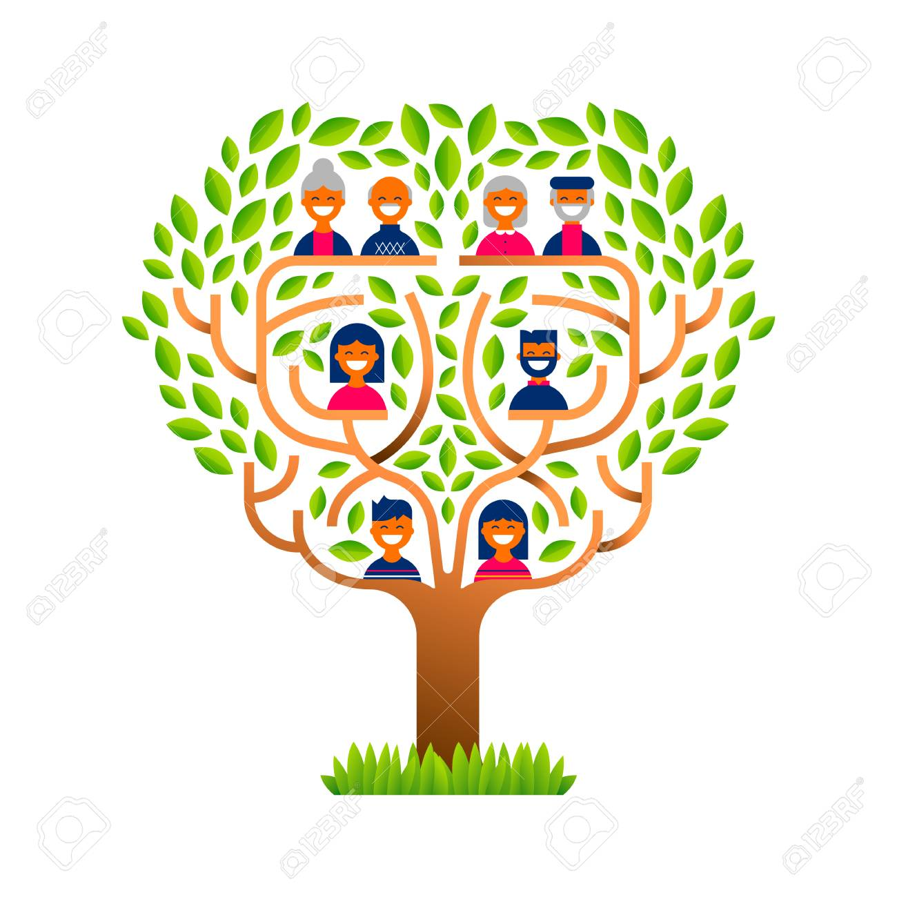 Big family tree template concept with people icons for life generations