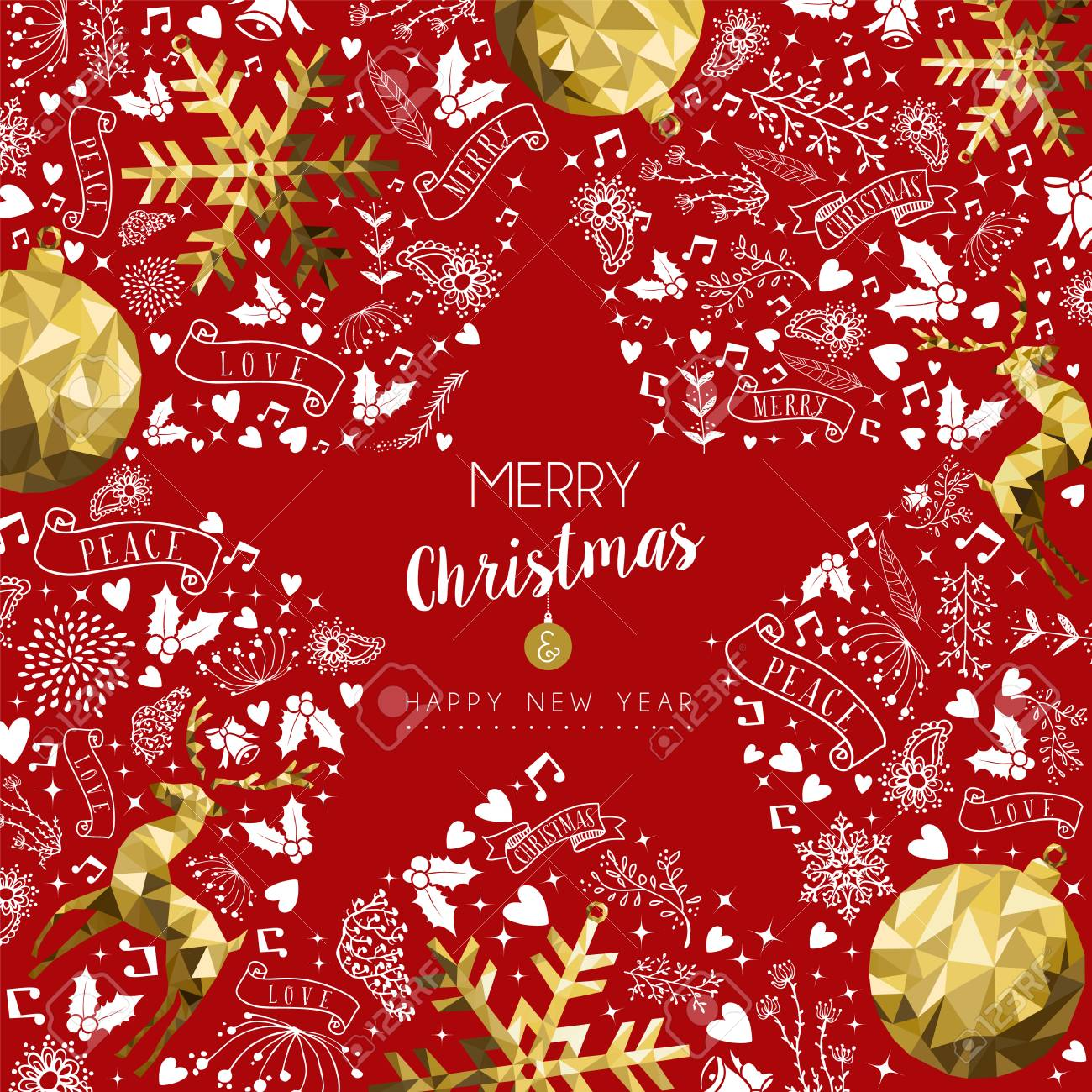 Merry Christmas Greeting Card With New Year Text Quote And Gold