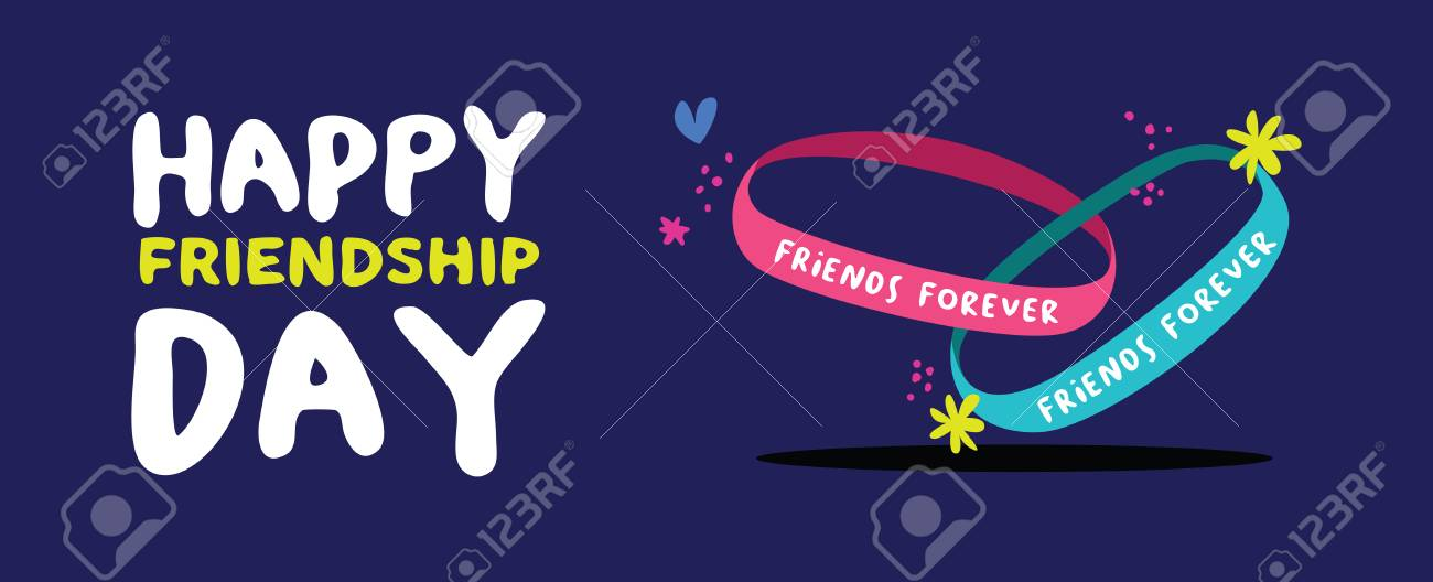 happy friendship day holiday web banner of cute friend bracelet