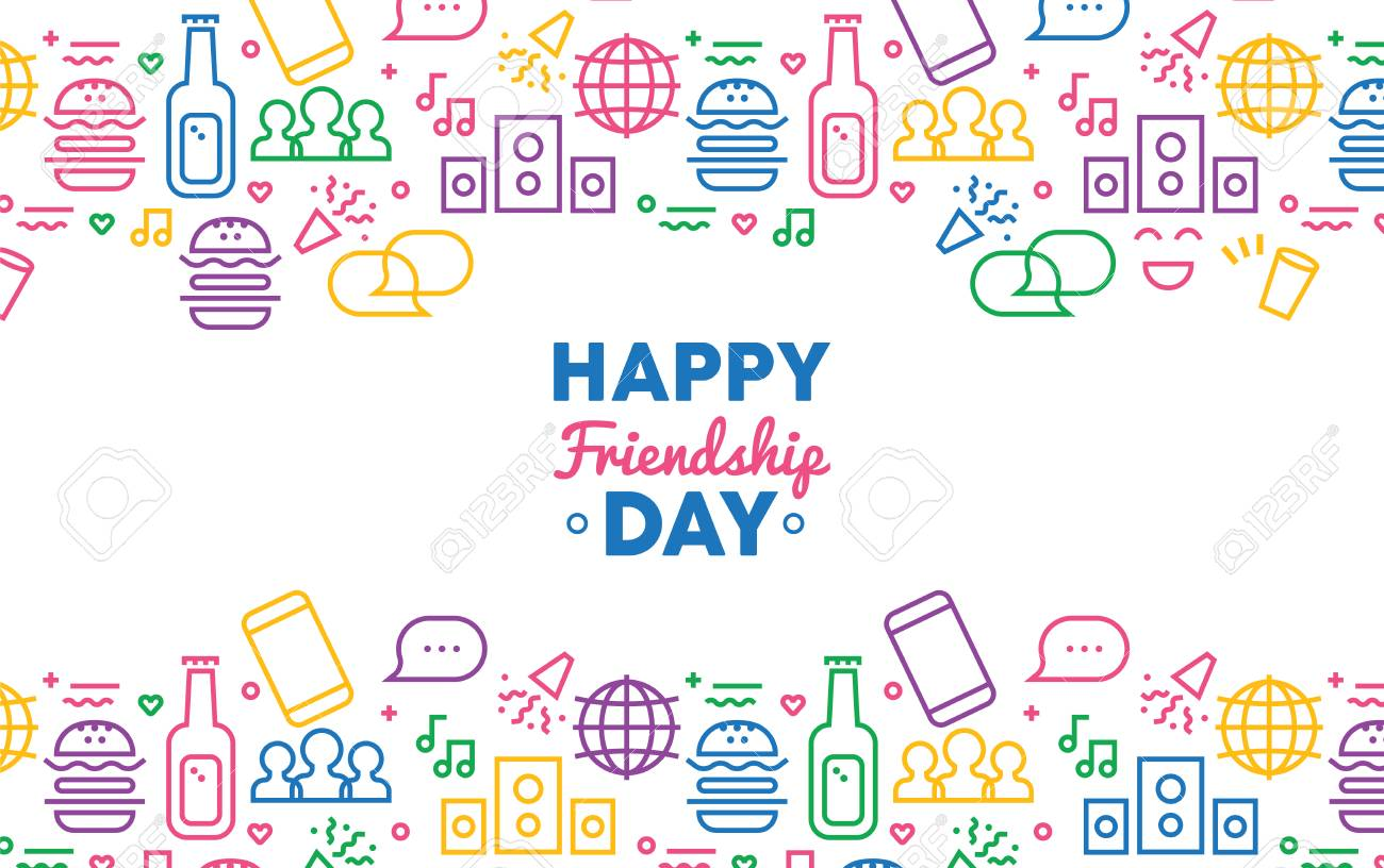 Happy Friendship Day Greeting Card Illustration With Fun Party Icon
