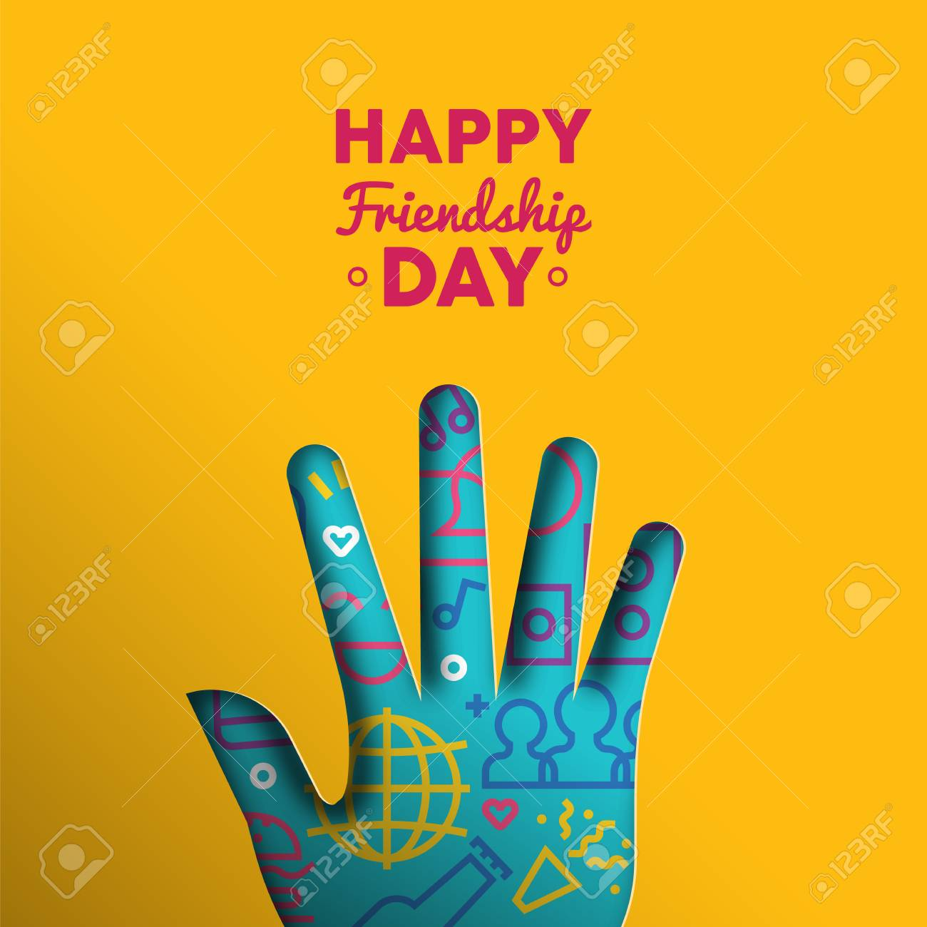 Happy Friendship Day Greeting Card Illustration Paper Cut Hand