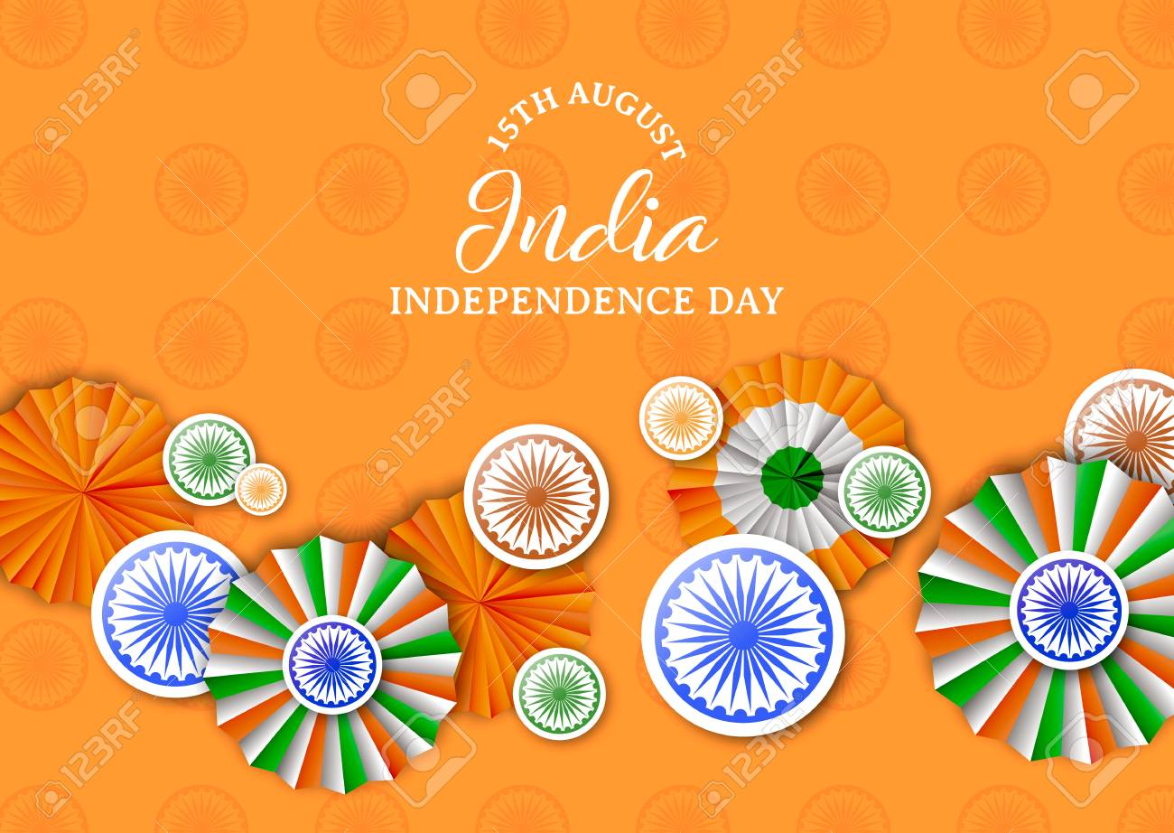 India Independence Day greeting card illustration. Traditional tricolor badges and indian flag color decoration with typography quote. EPS10 vector. - 113542798