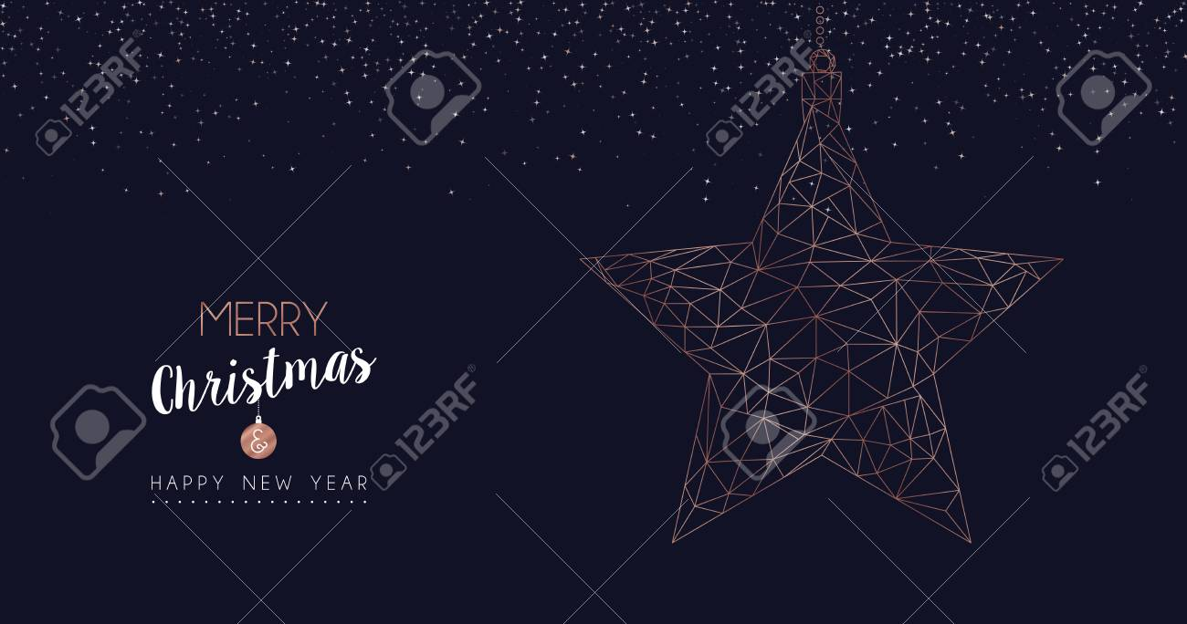merry christmas and happy new year web banner with luxury star in abstract geometric line style