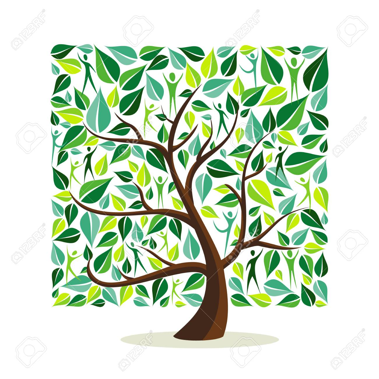 Tree made of green leaves with people in square shape. Nature concept, community help or care campaign. EPS10 vector. - 111919979