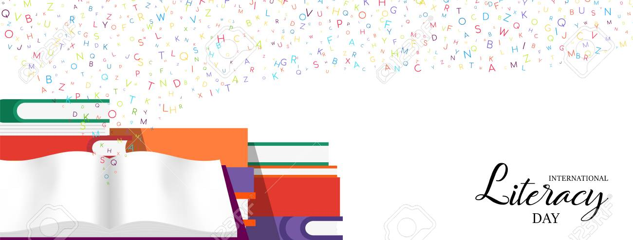 World Literacy Day web banner illustration of colorful school books for children education and alphabet letters. EPS10 vector. - 111794497