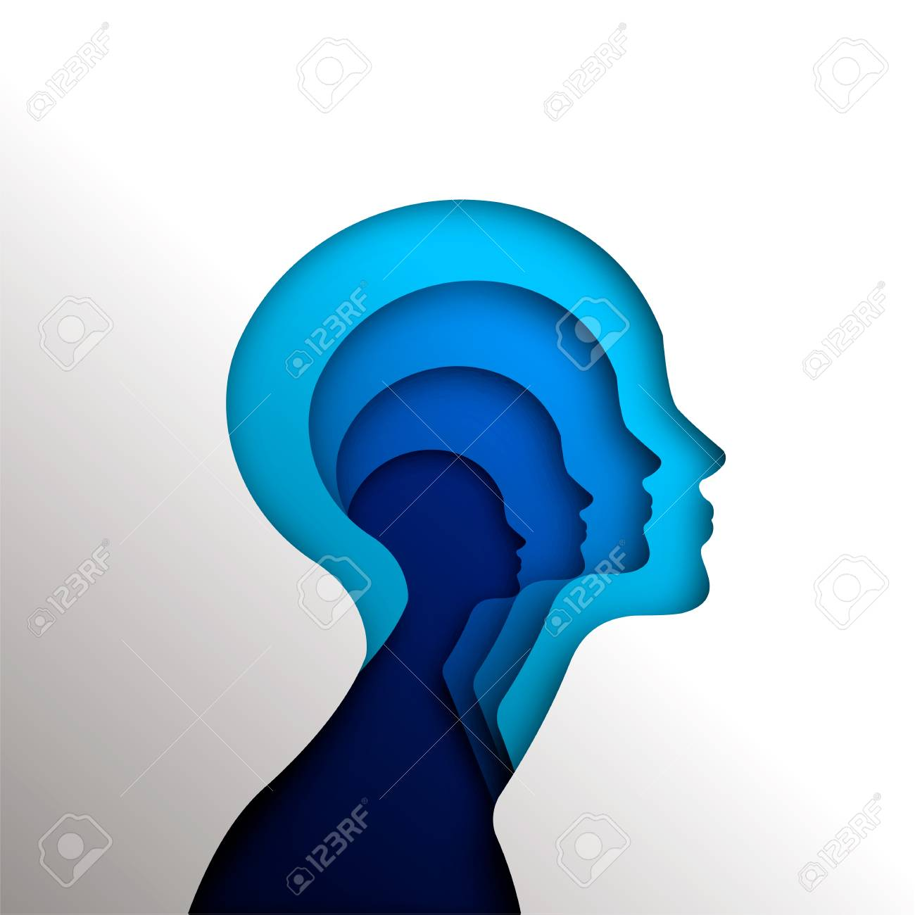 Human heads in paper cut style for psychology, self help concept or mental health, blue woman head cutout illustration. EPS10 vector. - 111794520