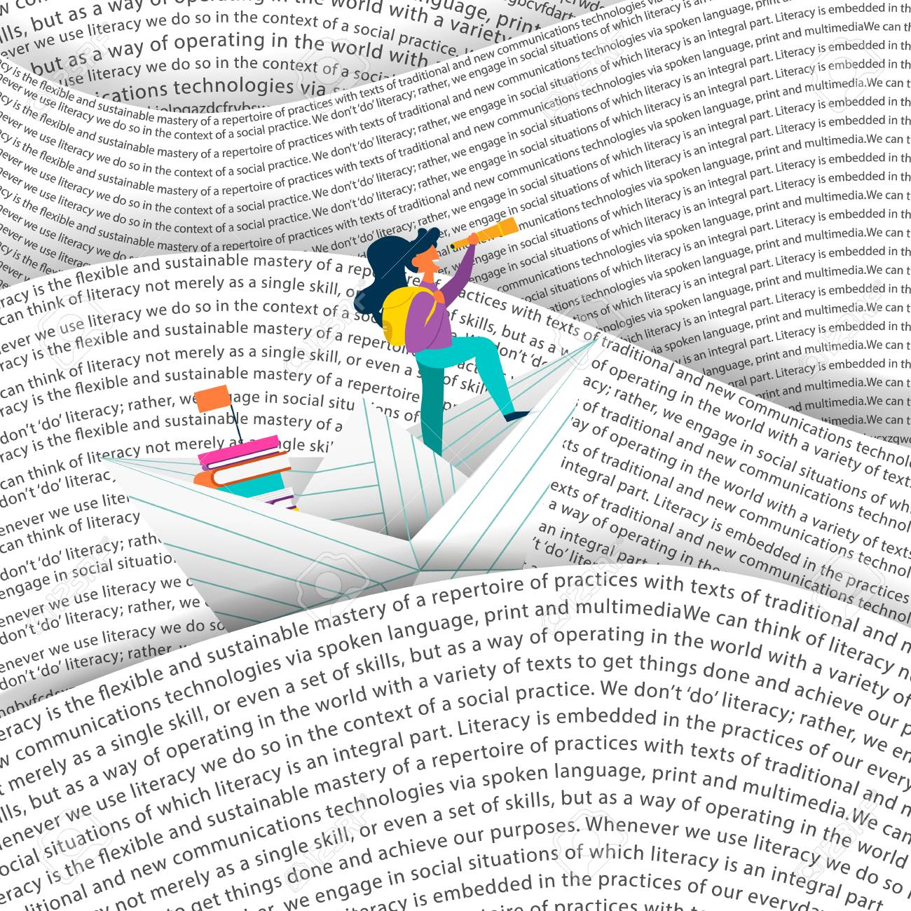 Girl sailing paper boat in sea of words. Education concept for children reading or school project. EPS10 vector. - 106823338