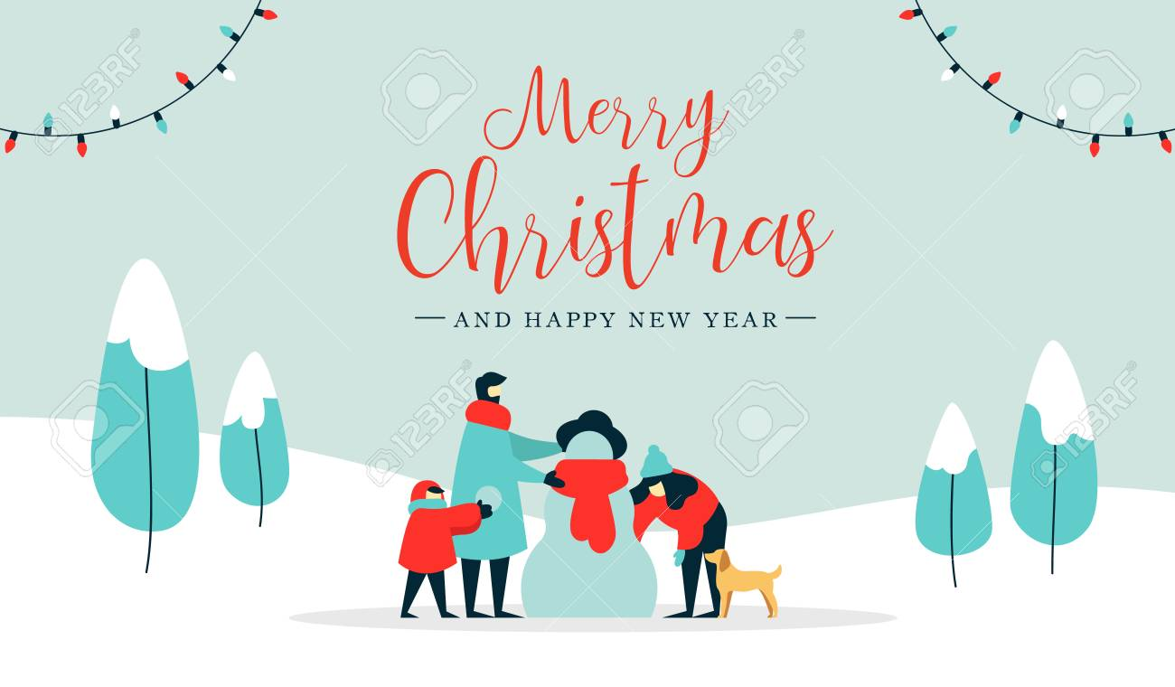 Merry Christmas happy new year winter illustration, family with kid and dog making snowman on snow landscape background. Modern people holiday design for xmas season. - 113542860