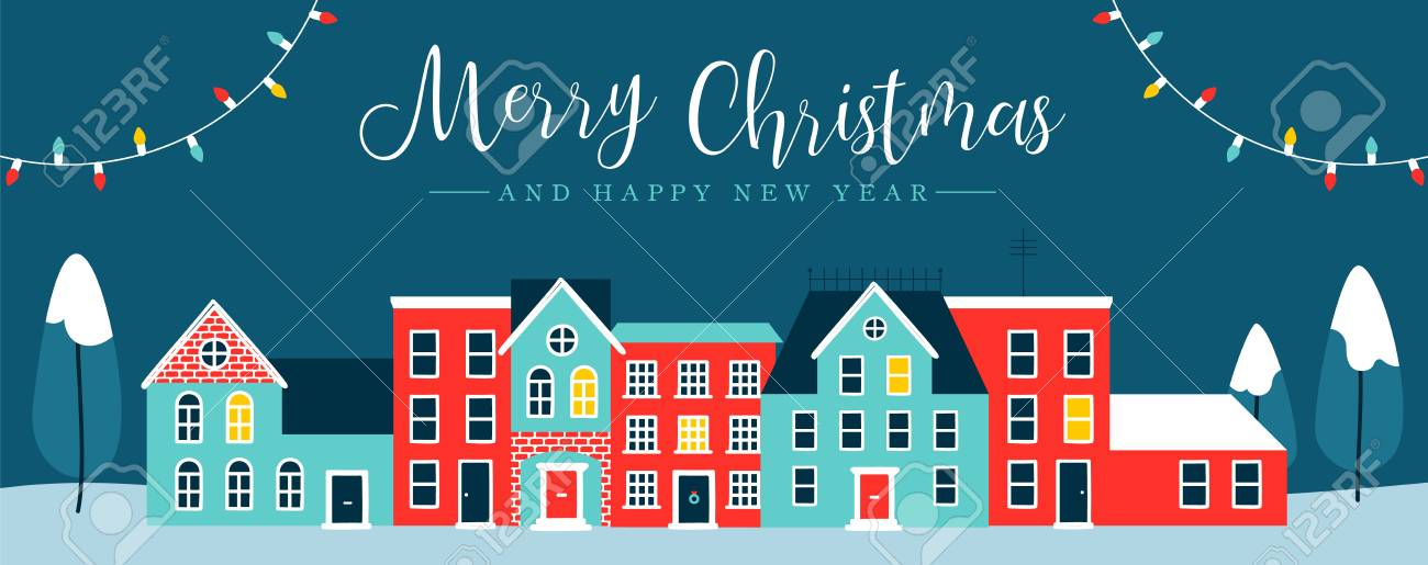 merry christmas and happy new year web banner illustration of cute houses in winter season