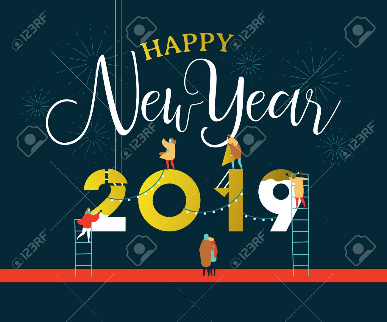 Happy New Year greeting card illustration for celebration event with fun people group building 2019 sign together on firework night sky. EPS10 vector. - 113542892