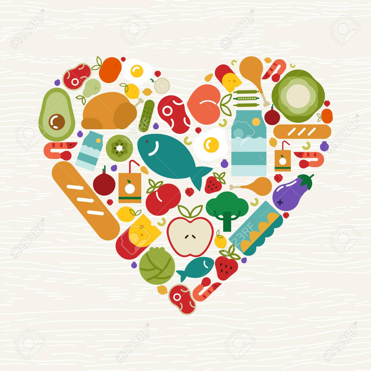 Food icons making heart shape for healthy eating or balanced nutrition concept. Includes fruit, vegetables, meat, bread and dairy. - 113542919