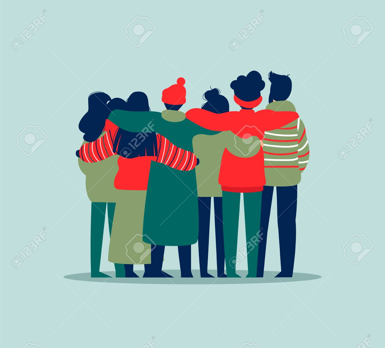 Diverse friend group of people hugging together in winter clothes for christmas or seasonal celebration. Girls and boys team hug on isolated background with copy space. - 113542990