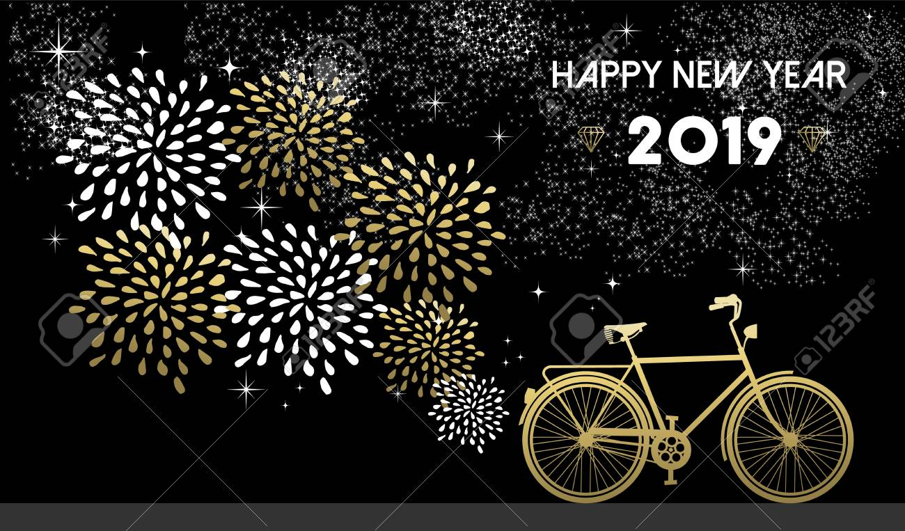 Happy New Year 2019, gold greeting card design with bike silhouette and fireworks in night sky background. - 113543045